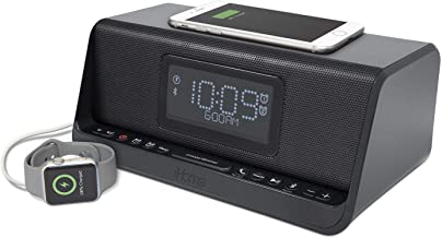 iHome IBTW450B Dual Charging Stereo Speaker System with Dual Alarm and Wireless Charging