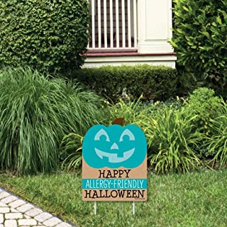 Big Dot of Happiness Teal Pumpkin - Outdoor Lawn Sign - Halloween Allergy Friendly Trick or Trinket Yard Sign - 1 Piece