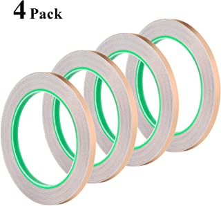 1/4 Inch Conductive Adhesive, Favordrory Copper Foil Tape with Conductive Adhesive for EMI Shielding, Slug Repellent, Paper Circuits, Electrical Repairs, Grounding, 4 Pack
