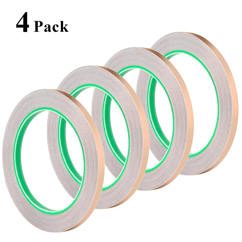 1/4inch Conductive Adhesive, Favordrory Copper Foil Tape with Conductive Adhesive for EMI Shielding, Slug Repellent, Paper Circuits, Electrical Repairs, Grounding, 4 Pack ew59955527