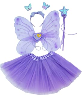 Fun Play Fairy Dressing up Costume for Girls – Butterfly Fairy Wings, Tutu, Magic Wand,Headband Costume Set for 3-8 Years