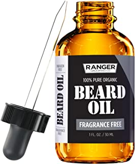 Fragrance Free Beard Oil & Leave In Conditioner, 100% Pure Natural for Groomed Beards, Mustaches, & Moisturized Skin 1 Oz ...