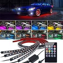 Kit de luz led de bajo brillo, 4 piezas Tira de luz decorativa de atmósfera de neón de alta intensidad para automóviles, Sistema a prueba de agua Tubo impermeable RGB 8 colores