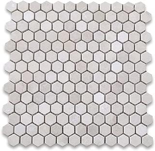 Crema Marfil Spanish Marble Hexagon Mosaic Tile 1 inch Tumbled