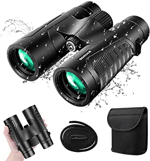 12x42 Powerful Binoculars for Adults, Upgraded Professional HD Compact Binoculars with Clear Weak Night Vision, Lightweight Waterproof Binoculars for Birds Watching, Hunting,Travel with BAK4 FMC Lens
