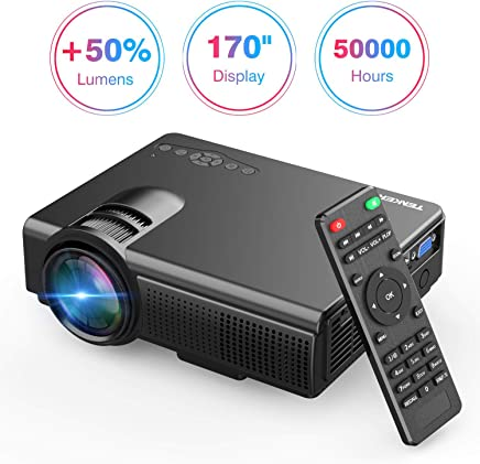 TENKER Upgrade Lumens Q5 Mini Projector, with Big Display LED Full HD Video Projector, Compatible...