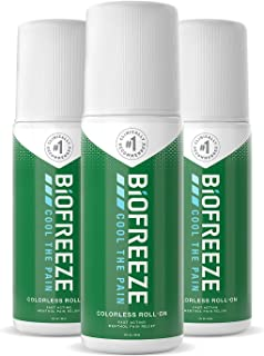 Biofreeze Pain Relief Roll-On, 3 oz. Colorless Roll-On, Fast Acting, Long Lasting, & Powerful Topical Pain Reliever, Pack of 3 (Packaging May Vary)
