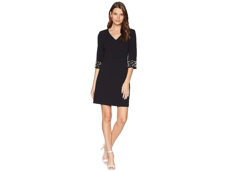 Calvin Klein V-Neck w/ Pearl Detail At Sleeve CD8C15XD (Black) Women