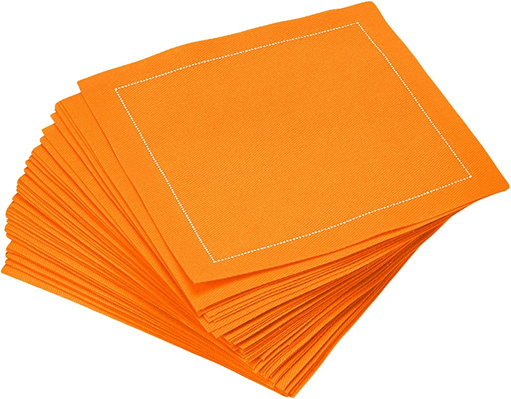 Signature Napkins CO11 904 DW200 50 4 5 X 4 5 100 Cotton Cocktail Napkin 50 Pack Persimmon