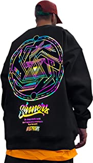 XYXIONGMAO Reflective Round Neck Sweatshirt Graphic Hip-Hop Sweater Oversized Hoodie Men