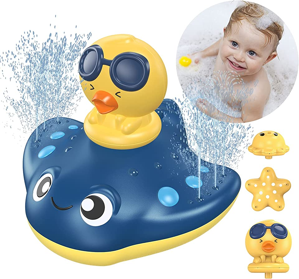 KIMILAR Bath Toys for 3 Years Old, Electric Water Spray Floating Toy for Kids, Battery Powered Bathtub Sprayer Toys Assorted Shower Pool Bathroom Spraying Toy for Baby Toddler Boys Girls Pets