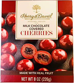 Harry & David Milk Chocolate Covered Cherries 8 Ounce! Dried Cherry With Creamy Milk Chocolate Coating! Tasty Smooth Sweet Fruit Snack!