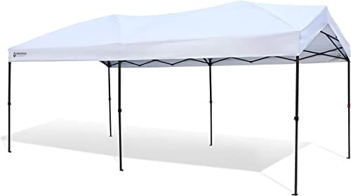 lowest ARROWHEAD OUTDOOR 10'x20' Pop-Up Canopy & Instant Shelter, Easy One Person Setup, Water & UV Resistant 300D Fabric, Push Button Legs, Wheeled Carry Bag, Guide Ropes outlet online sale & discount Stakes Included, USA-Based outlet online sale