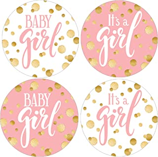 Pink and Gold Girl Baby Shower Favor Stickers - 1.75 in - 40 Labels