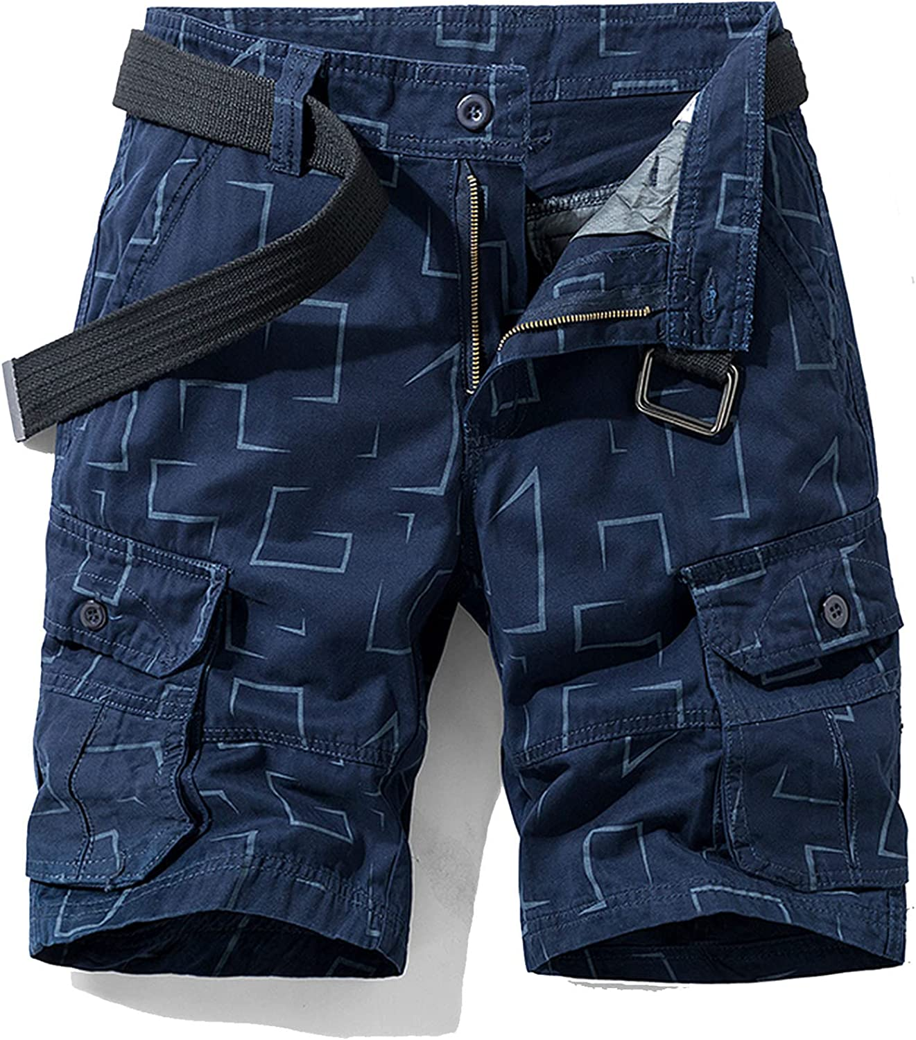 B dressy New Summer Cargo Shorts Men Camouflage Cotton Khaki Loose Casual Outwear Overalls-Blue-1-30