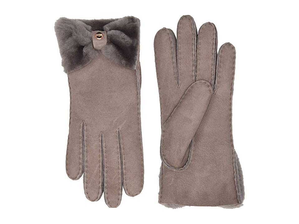 UGG Bow Shorty Water Resistant Sheepskin Gloves (Stormy Grey) Extreme Cold Weather Gloves