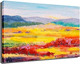 KYCD Pintado a Mano de Pintura al óleo de 100%, Pintado Mano Campo de Color Obra Abstracta Estirada enmarcada para decoración del hogar Decoración pared-7x10 Pulgadas