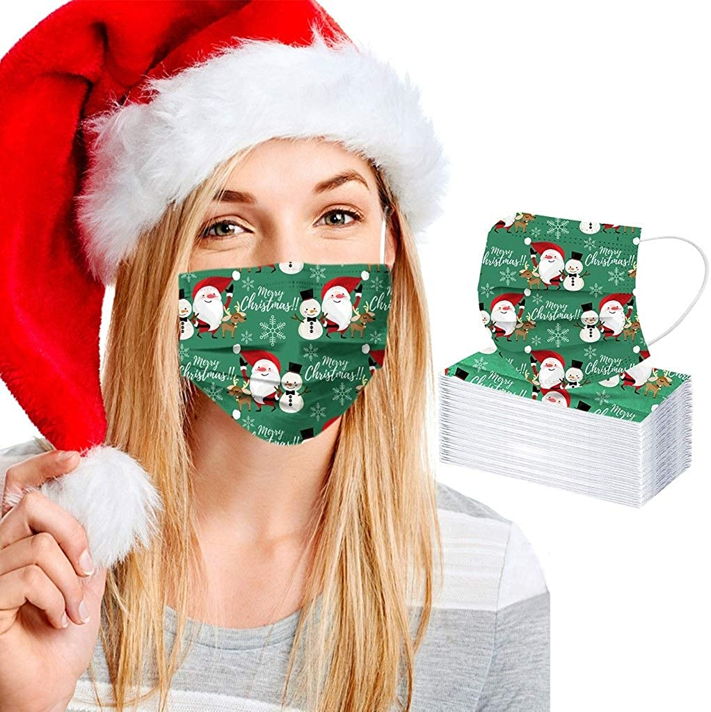 【USA Stock】 OFFicial store 50PCS Christmas Mask Masks Face Disposable Sale item