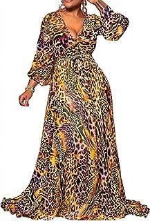 Womens Maxi Dress Chiffon Leopard Print Floral Wrap V Neck Long Sleeve with Belt