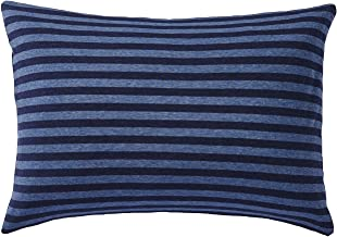 Muji Organic Cotton Jersey Pillow Case, Dark Blue Border, 43 x 63cm