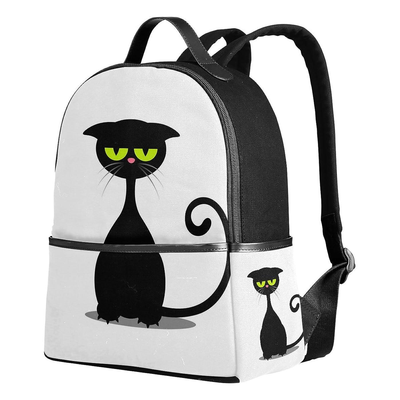 虐待船上振る舞うUSAKI(ユサキ)かわいい 猫 キャット ネコ 猫柄 黒猫 ブラックキャッ 白黒 モノクローム,通学 通勤 旅行 遠足 カジュアル リュックサック キャンバス バック レディース 中学生 高校生 大学生 大容量 アウトドア バッグパック デイパック