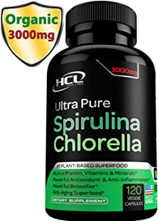 Chlorella Spirulina Powder Capsules Organic- Purest Non-Irradiated Blue Green Algae Tablets - Best Raw Vegan Protein Green Superfood Broken Cell Wall – Made in USA