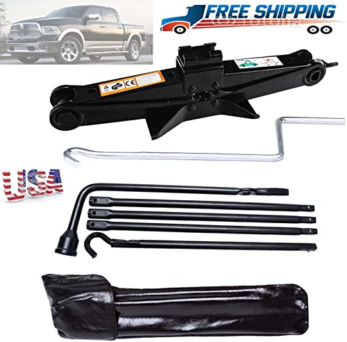 lowest Bowoshen wholesale for Dodge Ram 1500 Spare Tire Lug Wrench Repair Tool Kit & 2 high quality Tonne Scissor Jack with Effortless Handle outlet sale
