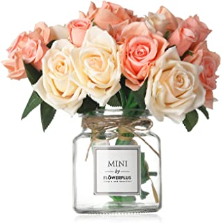 MISBEST Artificial Rose Flowers with Vase,Fake Silk Champagne Bouquet with Glass Jar Home Rope for Wedding Proposal Bride Home Decoration and The Best Gift, Champagne