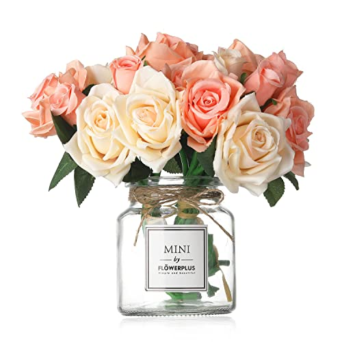 Missblue Artificial Rose Flowers With VaseFakeSilk Pink Bouquet Glass Jar Home Rope For