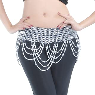 Exotic Cleopatra Elastic Wave Belly Dance Hip Scarf Beaded Belt Skirt(Gold/Silver)