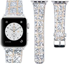 MIFFO Compatible with Apple Watch Band 38mm 40mm 42mm 44mm, 3D Glitter Bling Leather Wristband iWatch Strap Replacement for Apple Watch Series 5 Series 4 Series 3 Series 2 Series 1