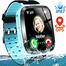 Kids Smart Phone Watch IP67 Waterproof GPS Tracker Watch for 3-12 Year Girls Boys Two-Way Call SOS Micro Chat Camera Games Swim Camp Activity Tracker Electronic Learning Toy Christmas Birthday Gifts
