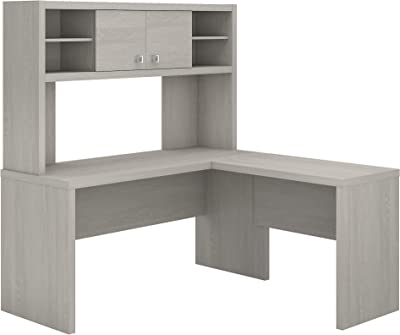 Bush Business Furniture Office by kathy ireland Echo L Shaped Desk with Hutch, Gray Sand