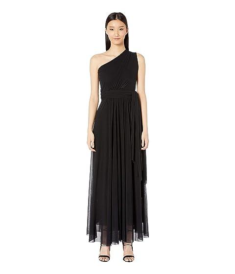 FUZZI Solid One Shoulder Long Belted Dress