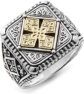 خاتم من الفضة الإسترلينية للرجال وخاتم منقوش من الذهب عيار 18، مقاس 11