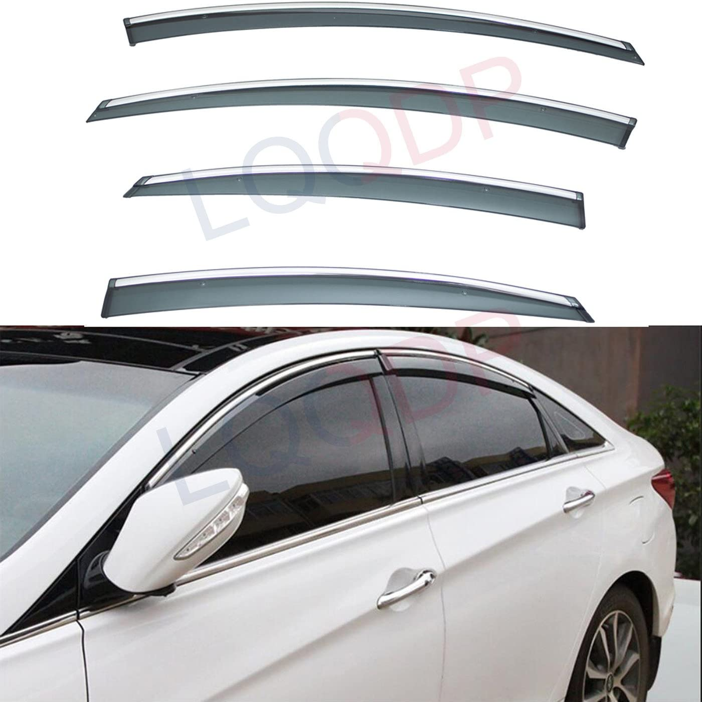 LQQDP 4pcs Smoke Max 59% OFF Tint With Chrome Cli On Outside Tape Mount Trim Ranking TOP6