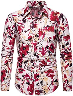 neveraway Men's Long-Sleeve Button Down Floral Print Casual Slim Blouse Top