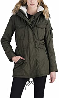 S13 New York Ladies Sherpa Lined Anorak Jacket, XL Military Green