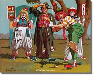 Clowns Playing Golf Weekend Foursome Wall Picture 8x10 Art Print