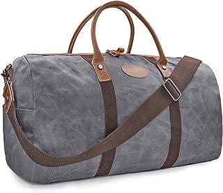 NEWHEY Vintage Reisetasche Leder Wasserdicht Canvas Unisex Handgepäck Weekender Tasche Stoff Duffle Bag Groß Wochenend Tasche Herren Damen Lila-Grau