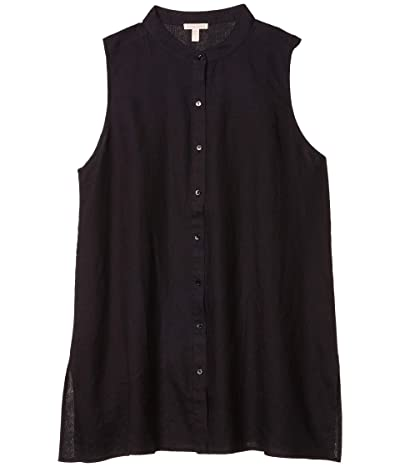 Eileen Fisher Mandarin Collar Sleeveless Shirt (Black) Women