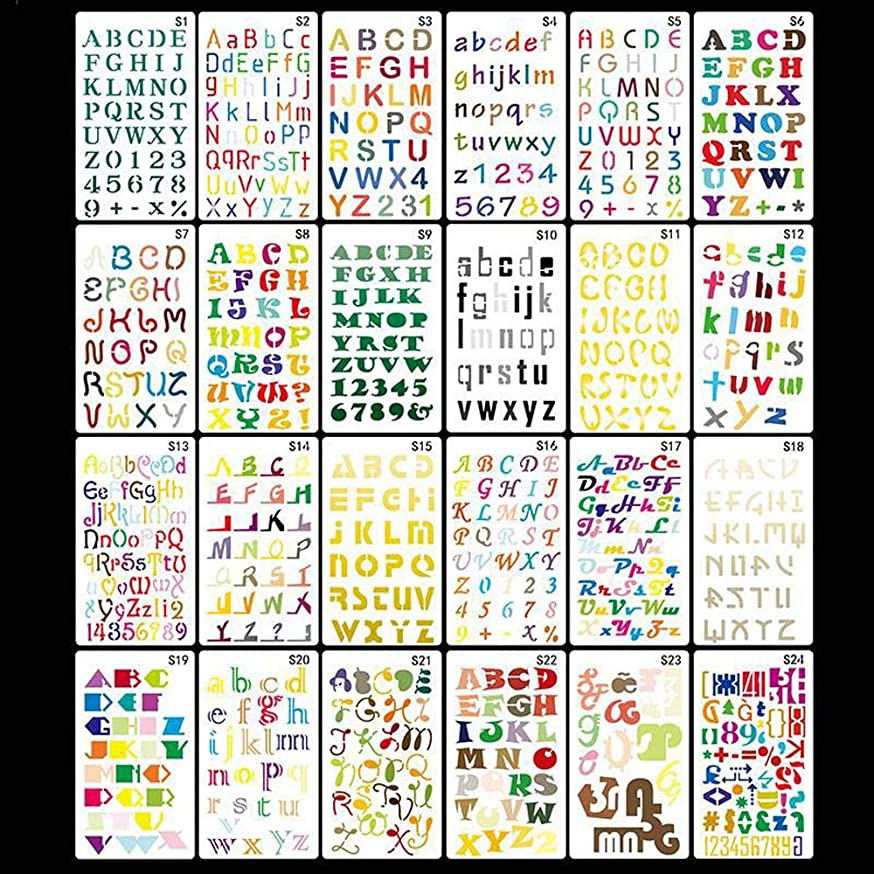 Dstertech 24 PCS All Letters & Numbers Stencil Plastic Set for Journal/Notebook/Diary/Scrapbook/Drawing & Lettering DIY Drawing Template - 4x7 Inch