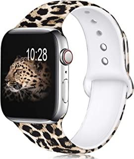 KOLEK Floral Bands Compatible with Apple Watch 44mm 42mm, Silicone Cheetah Printed Replacement Bands for iWatch Series 4 3 2 1, Leopard, S, M