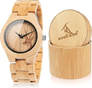 BOBO Bird Men's Women's Elk Engraved Face Bamboo Wooden Couple Watches Handmade Casual Watches for Lovers with Gift Box
