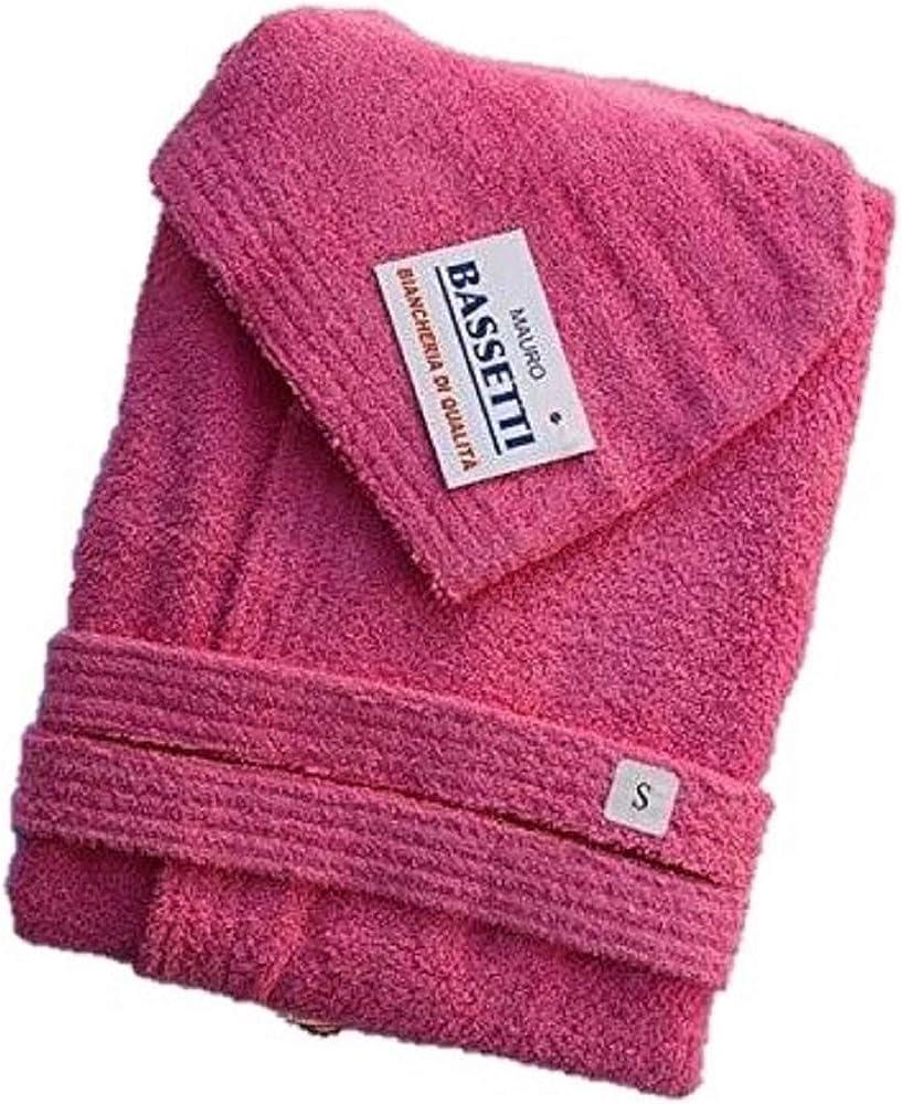 Viterbo biancheria, accappatoio bassetti in telospugna, 100% cotone, con cappuccio, unisex, rosa
