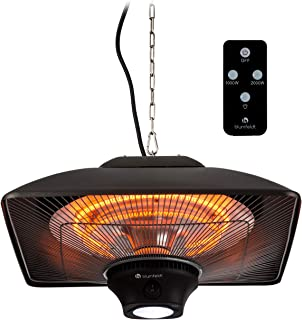 blumfeldt Heat Square - Infrarot-Heizstrahler mit Fernbedienung, Terrassen-Heizstrahler, 1000/2000 Watt, IR ComfortHeat Technologie, LED, schwarz