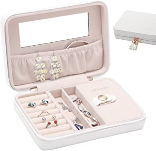 JL LELADY JEWELRY Small Jewelry Box Organizer Travel Jewelry Case Portable Faux Leather Jewelry Boxes Storage Case with Mirror for Women Girls (White)