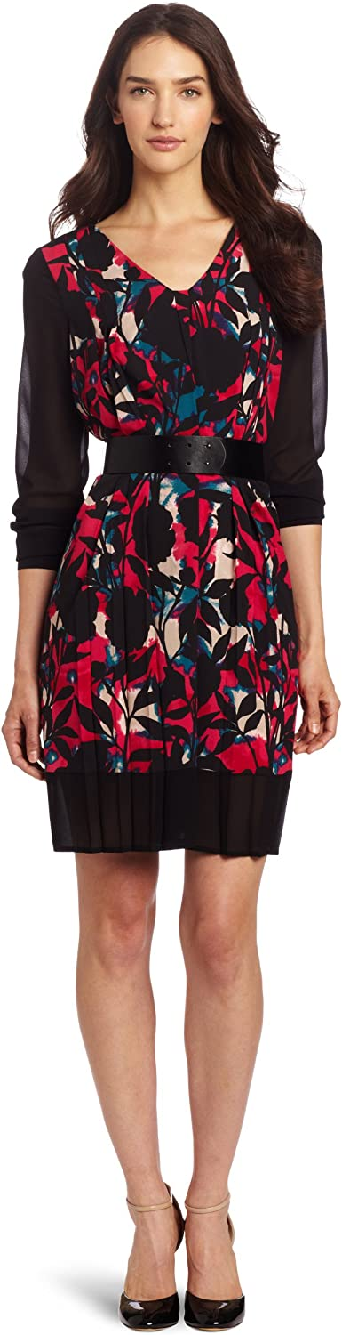 DKNYC Women's Long Sleeve Printed Vneck Dress with Faux Leather Belt