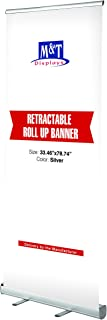 M&T Displays Retractable Banner Stand, Roll up Portable Banner 33.5