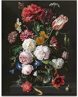 Still Life with Flowers in a Glass Vase, Jan Davidsz. de Heem - 11x14 Unframed Art Print - Great Home Decor and Gift Under $15 for Gardeners